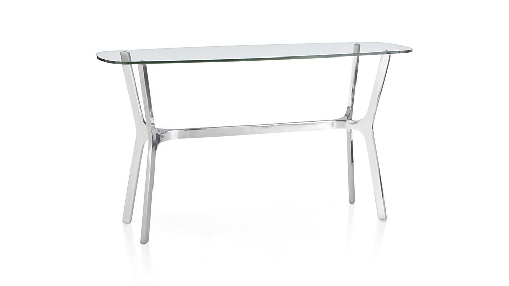 Elke Glass Console Table with Polished Aluminum Base