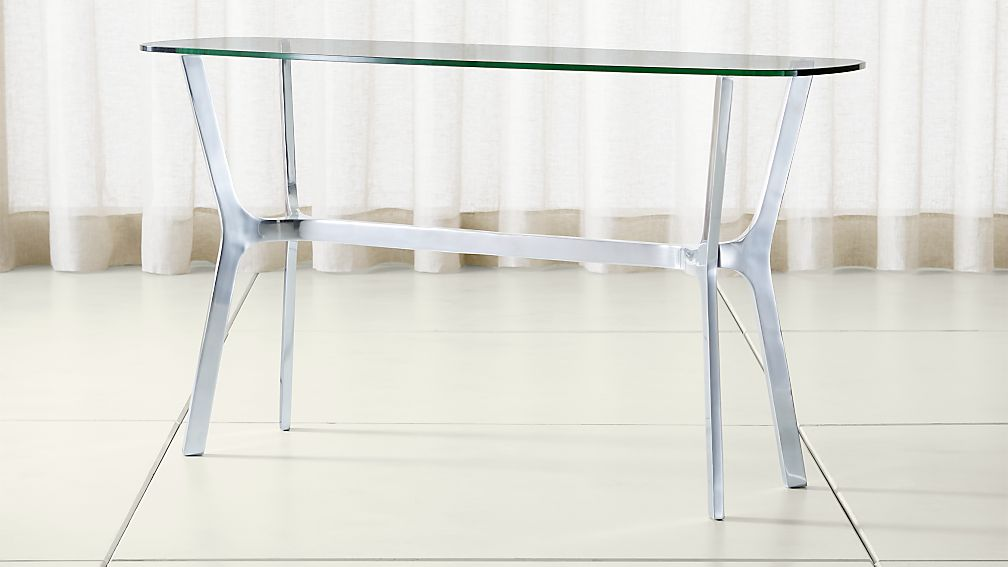 Elke Glass Console Table with Polished Aluminum Base - Image 1 of 5