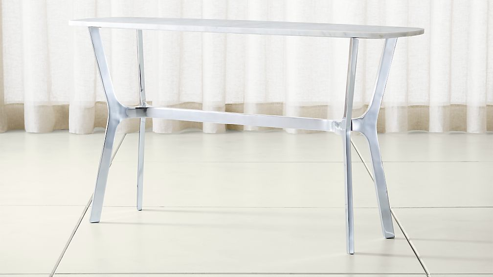 Elke Marble Console Table with Polished Aluminum Base
