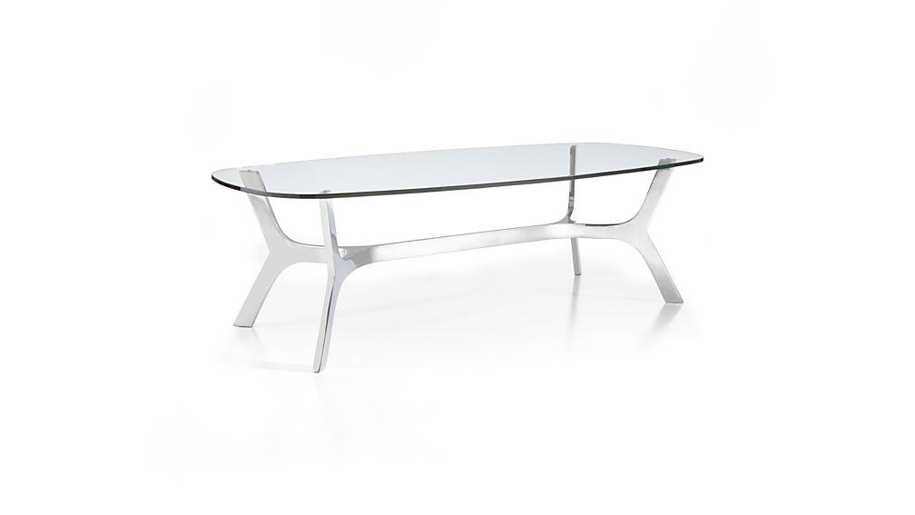 Elke Rectangular Glass Coffee Table with Polished Aluminum Base