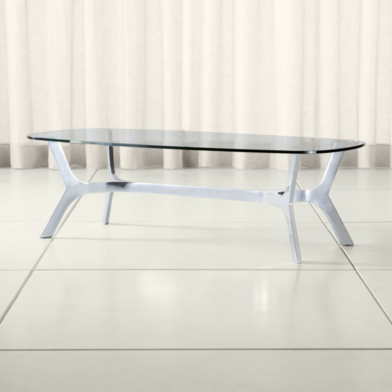 Elke Rectangular Glass Coffee Table with Polished Aluminum Base in