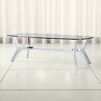 Elke Rectangular Glass Coffee Table with Polished Aluminum Base