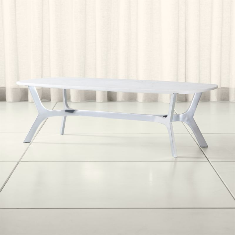 Elke Rectangular Marble Coffee Table With Polished Aluminum Base Crate And Barrel