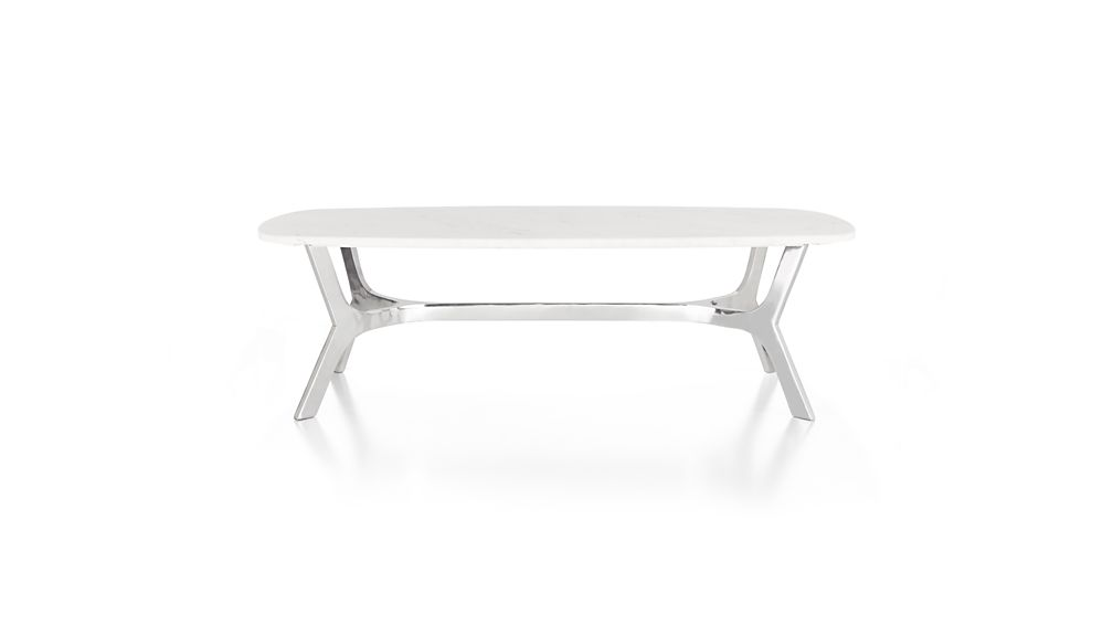 Elke Rectangular Marble Coffee Table with Polished Aluminum Base