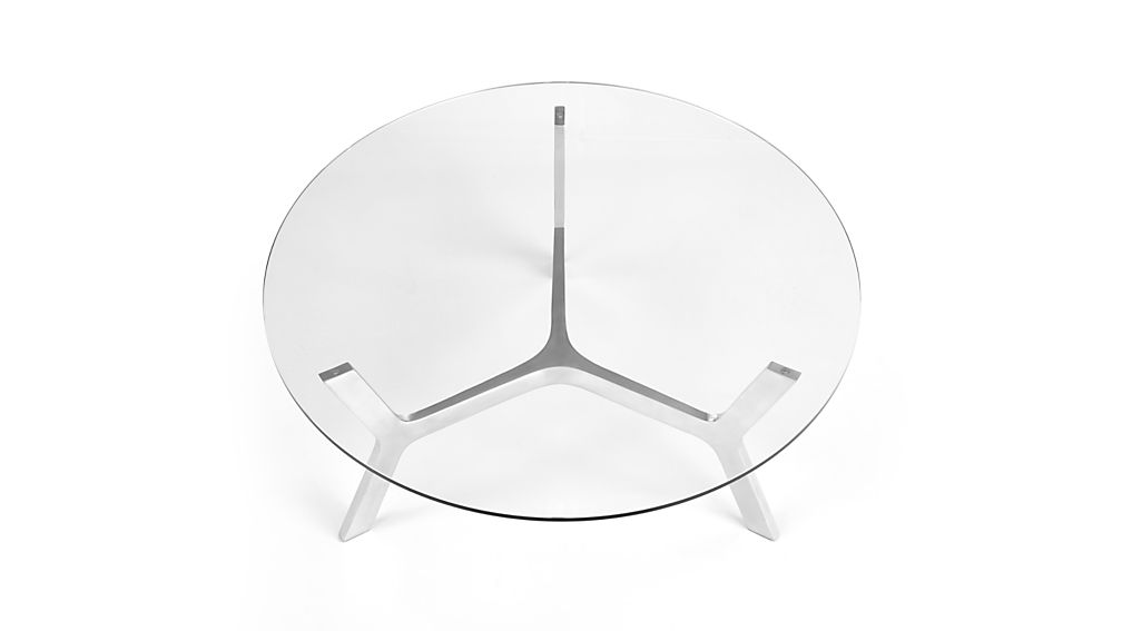 Elke Round Glass Coffee Table with Polished Aluminum Base