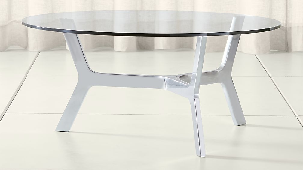 Elke Round Glass Coffee Table with Polished Aluminum Base - Image 1 of 3