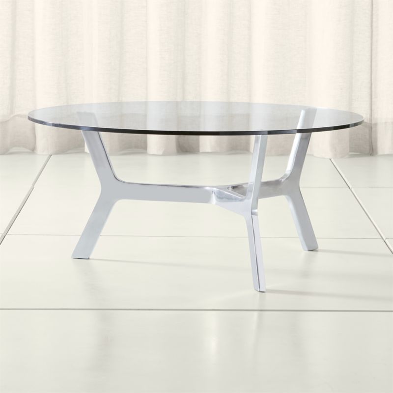 Glass Coffee Tables Next: Elke Round Glass Coffee Table With Polished Aluminum Base