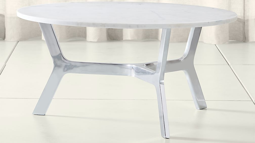 Elke Round Marble Coffee Table With Polished Aluminum Base ...