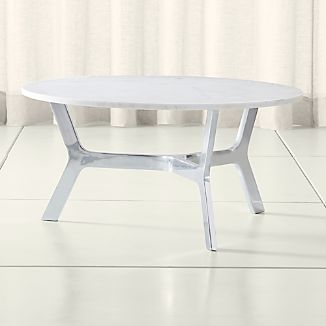 Elke Round Marble Coffee Table With Polished Aluminum Base