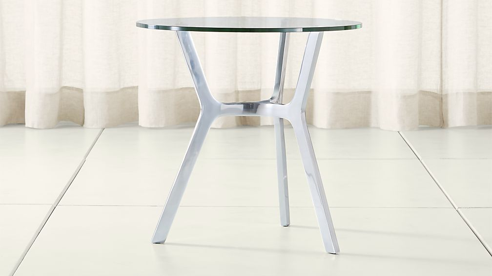 Elke Glass End Table with Polished Aluminum Base - Image 1 of 3