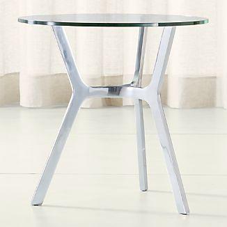 Elke Glass Side Table with Polished Aluminum Base
