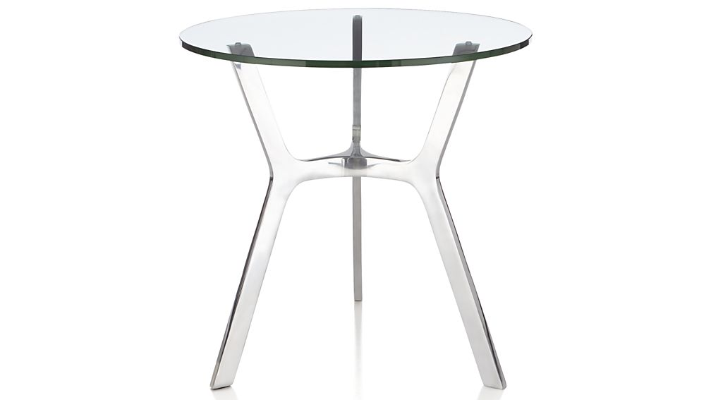 Elke Glass End Table with Polished Aluminum Base
