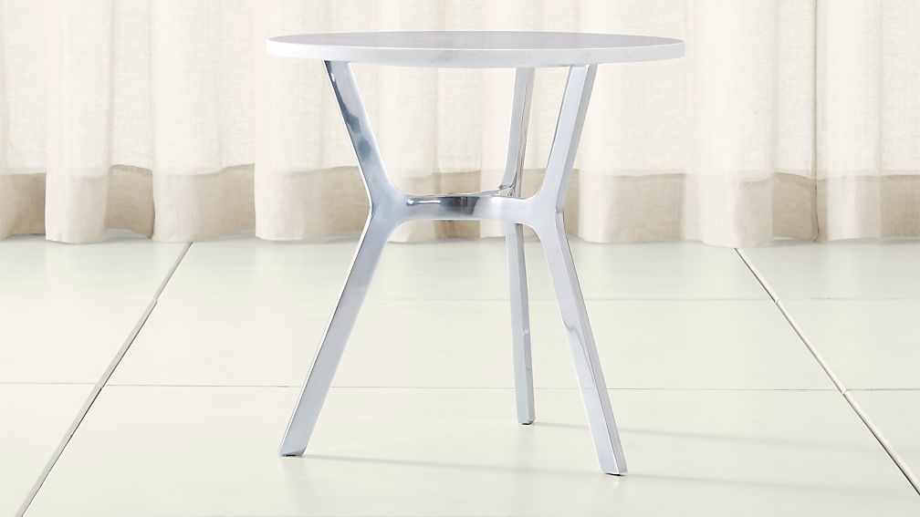 Elke Marble End Table with Polished Aluminum Base