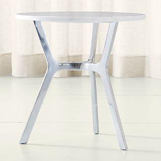 Elke Marble Side Table with Polished Aluminum Base