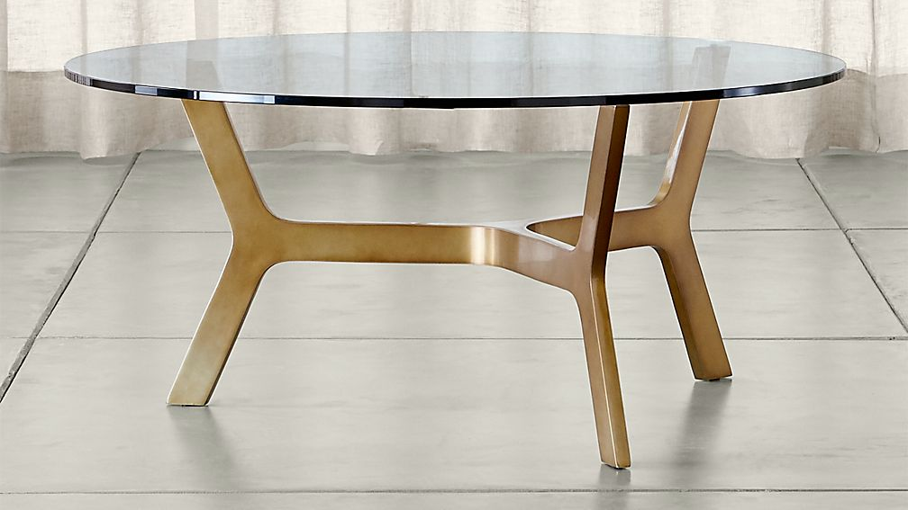 Elke Round Glass Coffee Table with Brass Base Crate and Barrel