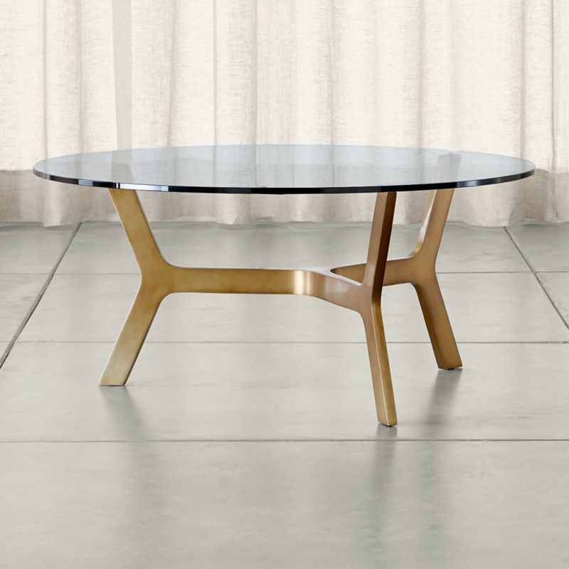 Elke Round Glass Coffee Table With Brass Base + Reviews