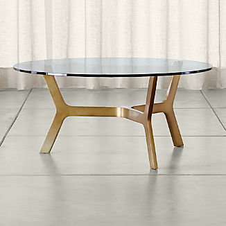 Elke Round Glass Coffee Table with Brass Base