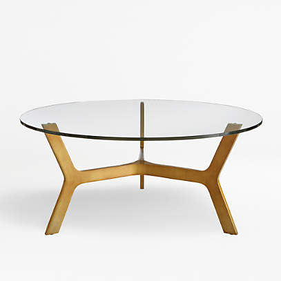 Elke Round Glass Coffee Table With Brass Base Reviews Crate And Barrel