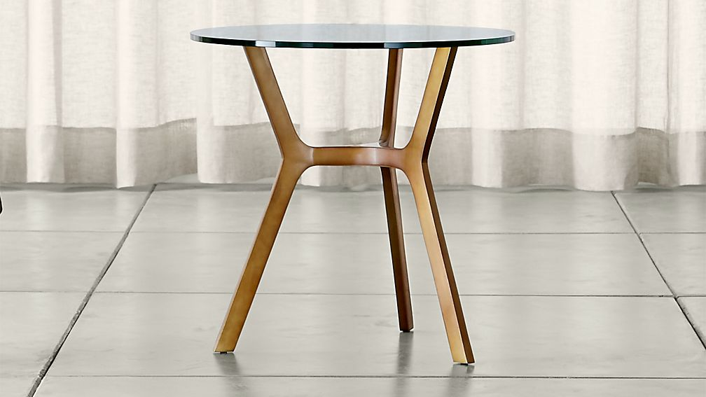 Elke Glass End Table with Brass Base - Image 1 of 3