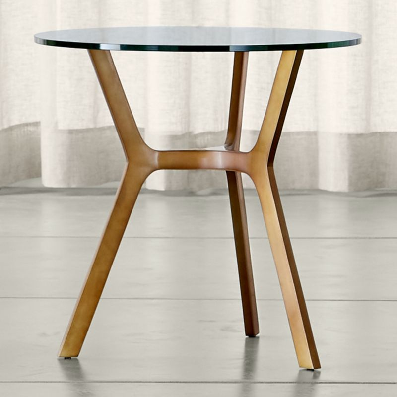 elke glass end table with brass base - Crate And Barrel End Tables
