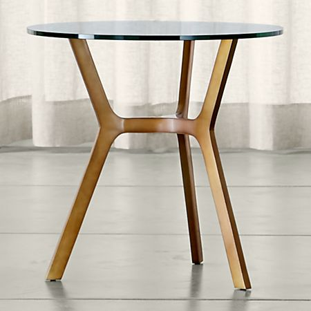 Elke Glass End Table With Brass Base Reviews Crate And Barrel