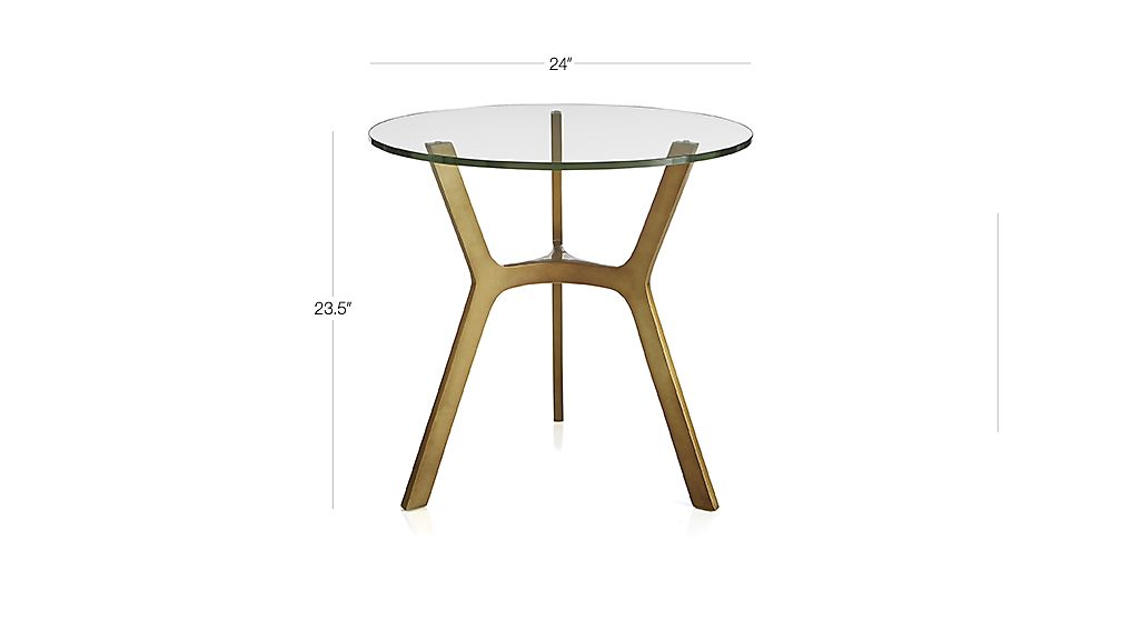 TAP TO ZOOM Image With Dimension For Elke Glass End Table With Brass Base
