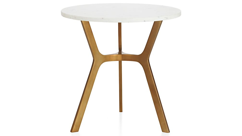 elke round marble end table with brass base | crate and barrel