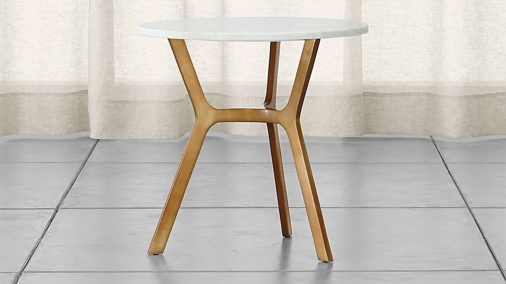 Elke Round Marble End Table with Brass Base - Image 1 of 12