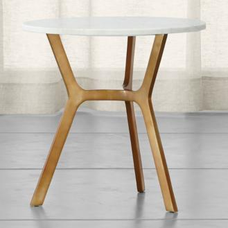 Elke Round Marble End Table With Brass Base
