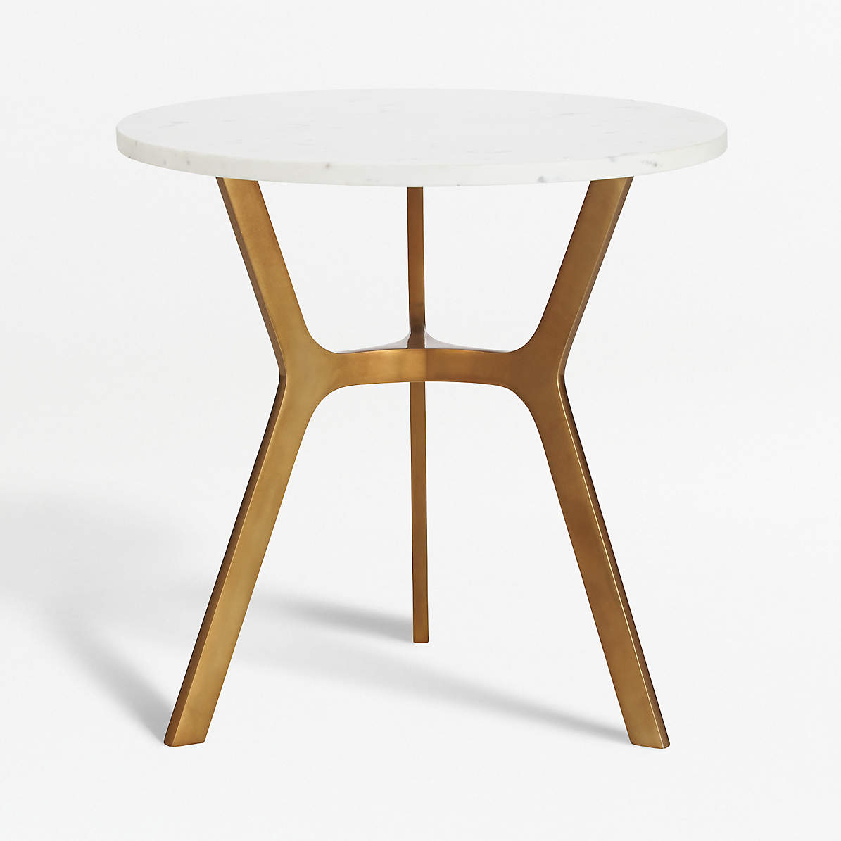 Elke Round Marble End Table With Brass Base Reviews Crate And Barrel