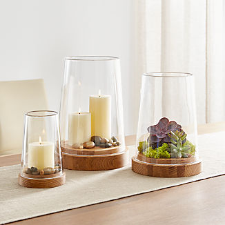 Ellery Hurricane Oak Candle Holders