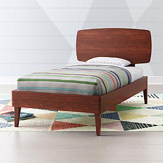 Ellipse Walnut Mid Century Bed