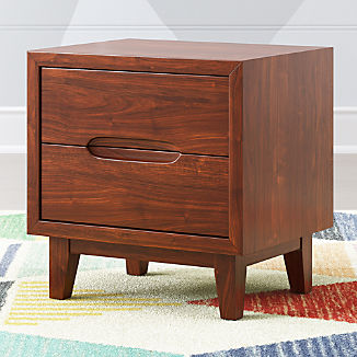 Kids Ellipse Mid Century Walnut Nightstand