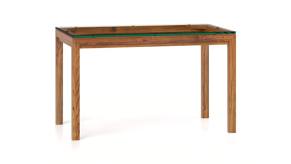 Parsons clear glass top elm base 48x28 dining table for Glass top dining table next