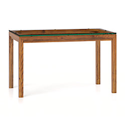 Parsons clear glass top elm base 60x36 dining table for Glass top dining table 36 x 60