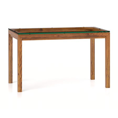 Parsons Clear Gl Top Elm Base 48x28 Dining Table