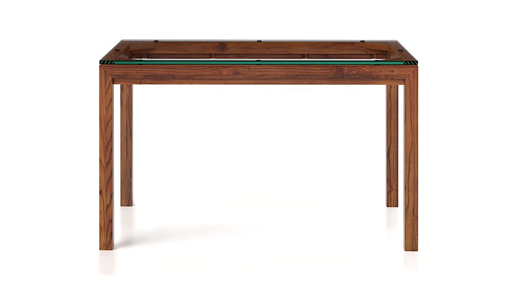 Parsons Clear Glass Top/ Elm Base 72x42 Dining Table