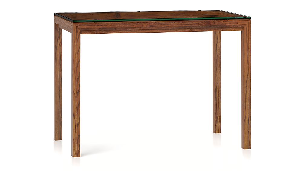 Parsons Clear Glass Top/ Elm Base 48x28 High Dining Table