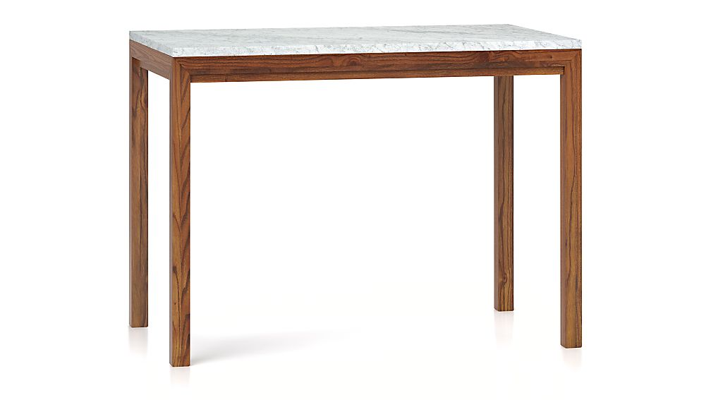 Top Parsons White Marble Top/ Elm Base 48x28 High Dining Table +  IE01