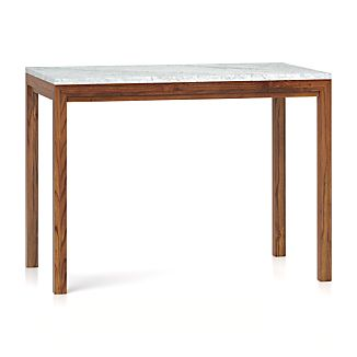 Parsons White Marble Top Elm Base 48x28 High Dining Table