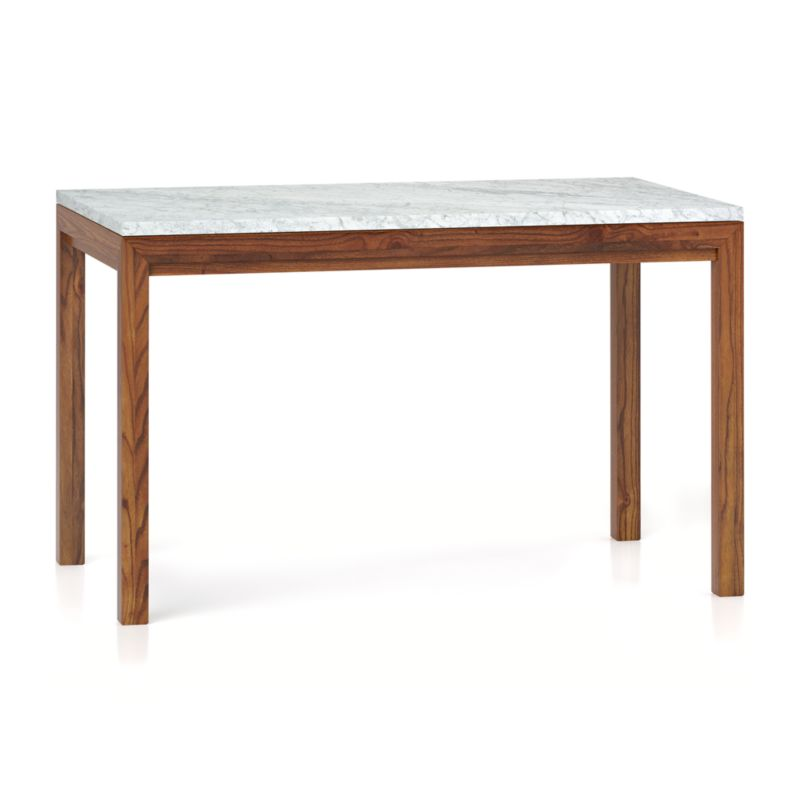 Crate And Barrel Black Marble Coffee Table: Parsons White Marble Top/ Elm Base 48x28 Dining Table