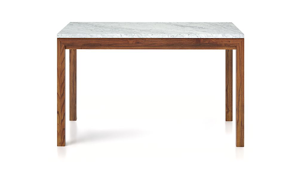 Parsons White Marble Top/ Elm Base 72x42 Dining Table