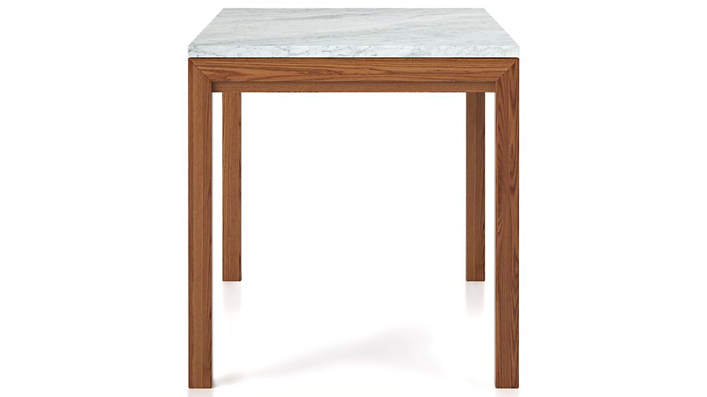 Parsons White Marble Top/ Elm Base 48x28 Dining Table
