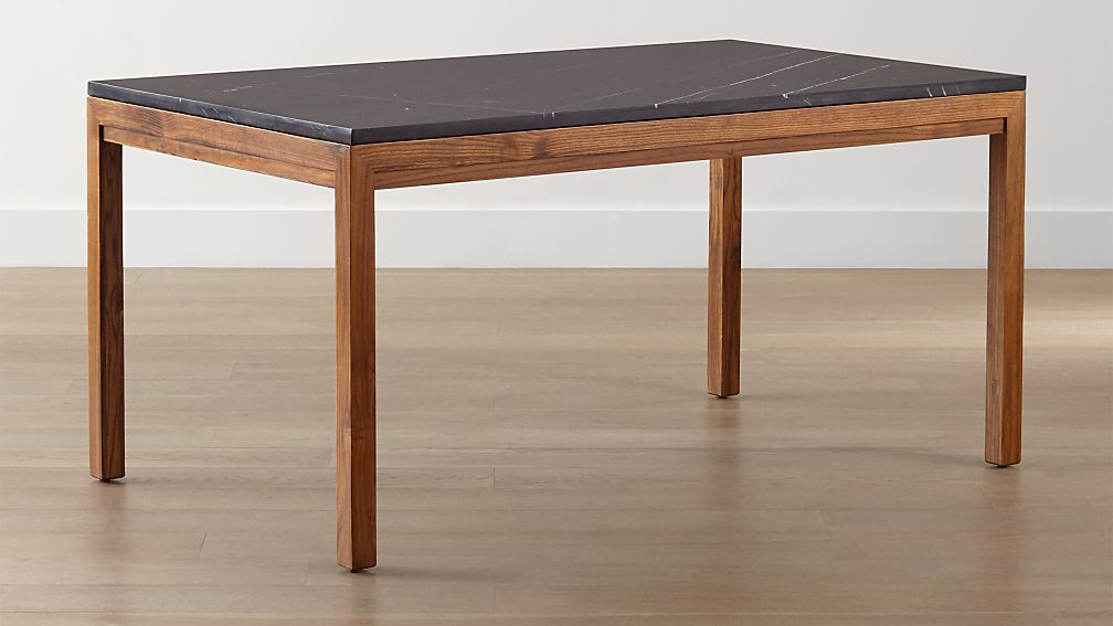 parsons black marble top/ elm base dining tables | crate and barrel