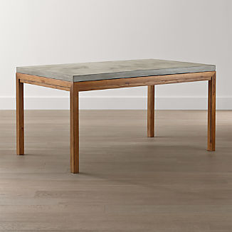 Parsons Concrete Top/ Elm Base Dining Tables