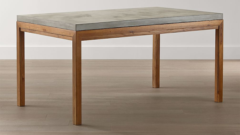 parsons concrete top/ elm base dining tables | crate and barrel