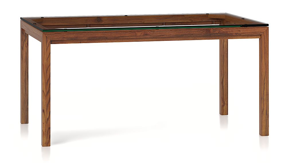 Parsons Clear Glass Top/ Elm Base 60x36 Dining Table - Image 1 of 6