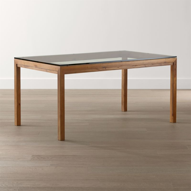 Parsons Clear Glass Top Elm Base Dining Tables Crate and Barrel