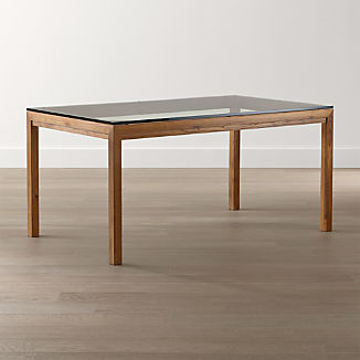 Parsons Clear Glass Top/ Elm Base Dining Tables