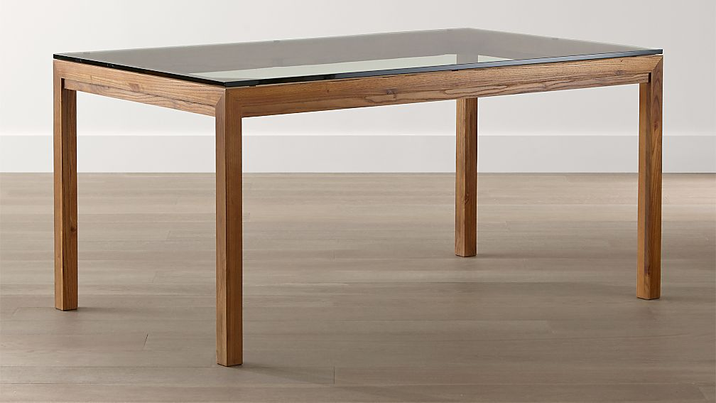 glass top dining table Parsons Clear Glass Top/ Elm Base Dining Tables | Crate and Barrel glass top dining table